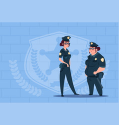 Two police women wearing uniform female guards on vector