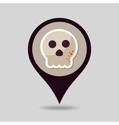 Halloween skull mapping pin icon vector