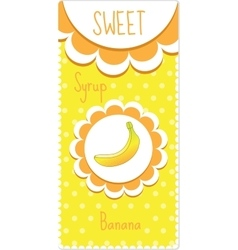 Sweet fruit labels for drinks syrup jam banana vector