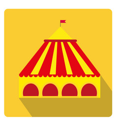 Circus pavilion yellow tent icon flat style with vector