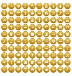 100 bridge icons set gold vector
