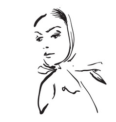Sketching hand draw of woman in shawl vector
