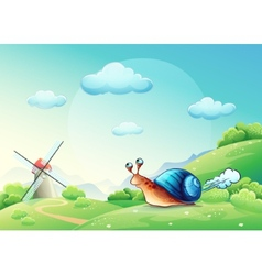 Cheerful snail on a meadow vector
