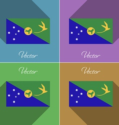 Flags christmas island set of colors flat design vector