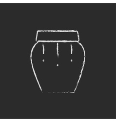 Drum instrument icon drawn in chalk vector