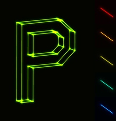 Eps10 glowing wireframe letter p - easy to change vector