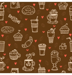Hand drawn seamless pattern with coffee cups vector