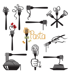 Set of pasta elements vector
