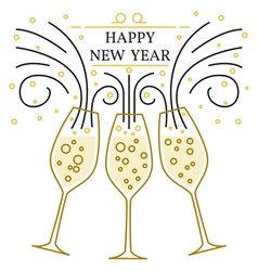 Happy new year greeting card eps10 champagne glas vector