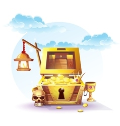 Chest of gold and a lantern vector
