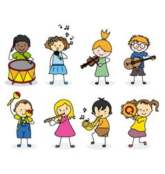 Group children with musical instruments vector