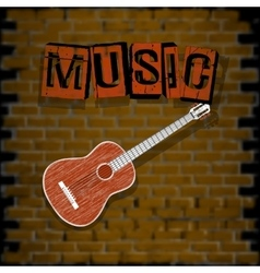 Musical background with brick wall vector