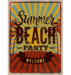 Typographic summerparty grunge retro poster vector