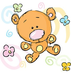 abstract cute bear with floral background design vector image vector image
