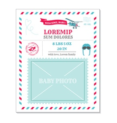 Baby Arrival Card - with Airplane vector image vector image