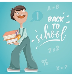 Back to school schoolboy with books vector