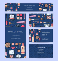 beauty or makeup brand identity set with vector image