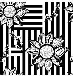 Black white floral seamless background modern vector