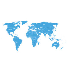 blue political world map with country borders and vector image vector image