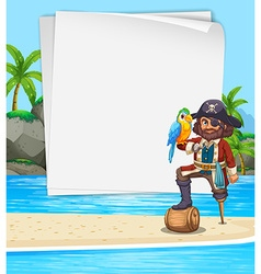 Border design with pirate on the beach vector