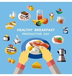 Breakfast Colored Composition vector image vector image