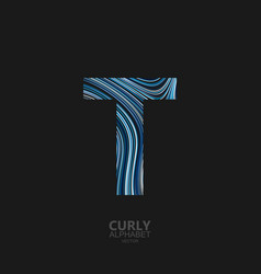 curly textured letter t vector image