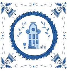 Delft blue house vector