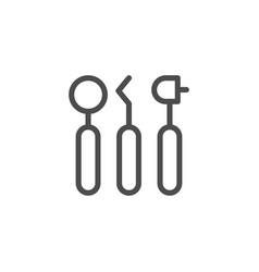 dental tools line icon vector image vector image