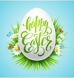 Easter lettering poster with spring flower vector image vector image