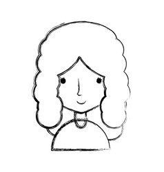 Figure happy woman with hairstyle and blouse vector