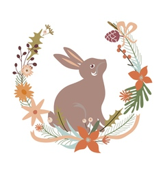 Floral design with rabbit vector image vector image