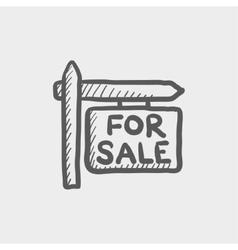 For sale signboard sketch icon vector