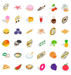 Good dish icons set isometric style vector