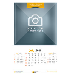 july 2018 wall calendar for 2018 year design vector image vector image
