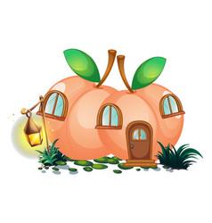 Peach house with lantern in garden vector