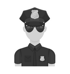 police officer icon in monochrome style isolated vector image vector image