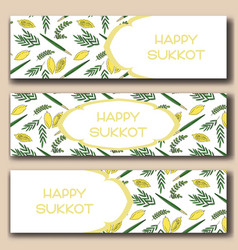 Pomegranate banners set for sukkot vector