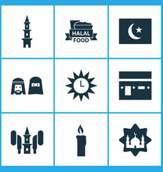 Religion icons set collection of mosque vector
