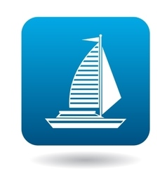 Sailing yacht icon in flat style vector image