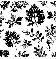 seamless pattern with ink stamp leaves vector image vector image