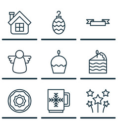Set of 9 celebration icons includes christmas toy vector