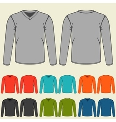 Set of colored long sleeve shirts templates for vector image