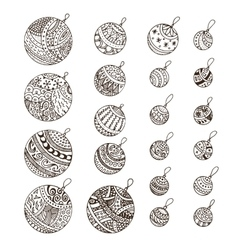 Set of doodle hand drawn Christmas balls vector image vector image