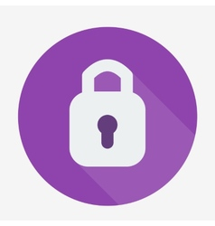 Single flat padlock icon with long shadow vector image