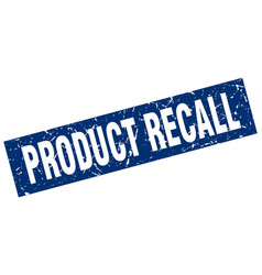 Square grunge blue product recall stamp vector