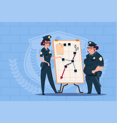 Two police women planning action on white board vector