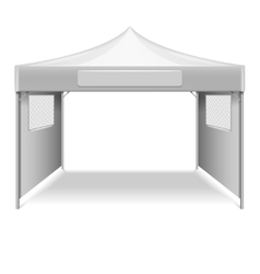 White empty folding tent marquee template vector