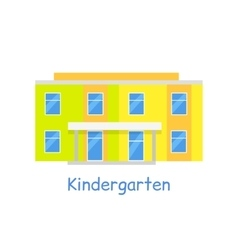 Kindergarten building isolated on white vector