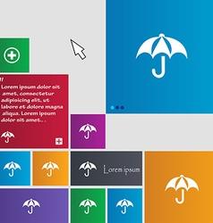 Umbrella icon sign buttons modern interface vector