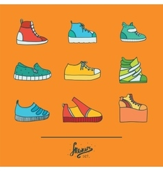 Beautiful set with stylish footwear - sneakers in vector image